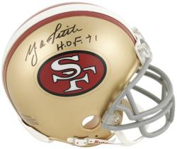 Y.A. Tittle San Francisco 49ers Autographed Riddell Mini Helmet with HOF 71 Inscription - Mounted Memories