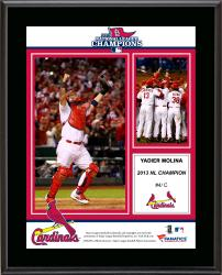 Yadier Molina St. Louis Cardinals 2013 National League Champions Sublimated 10.5'' x 13'' Plaque - Mounted Memories