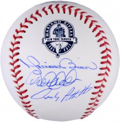Mariano Rivera, Derek Jeter, & Andy Pettitte New York Yankees Autographed Retirement Logo Baseball