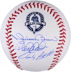 Mariano Rivera, Derek Jeter, & Andy Pettitte New York Yankees Autographed Retirement Logo Baseball