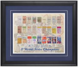 New York Yankees 27-Time World Series Replica Ticket Framed Collage - Mounted Memories