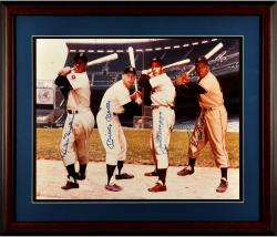 "New York Yankees Multi-Signed Mantle/DiMaggio/Mays/Snider 11"" x 14"" Framed Photograph"