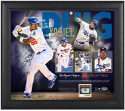 "Yasiel Puig Los Angeles Dodgers Framed 15"" x 17"" Collage with Piece of Game-Used Ball"