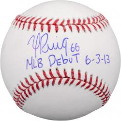 "Yasiel Puig Los Angeles Dodgers Autographed Baseball with ""MLB Debut 6-3-13"" Inscription"