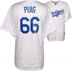 Yasiel Puig Los Angeles Dodgers Autographed Majestic Replica White Jersey
