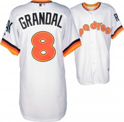 Yasmani Grandal San Diego Padres Player Worn 1984 Throwback Jersey from 5/22/14 vs Chicago Cubs