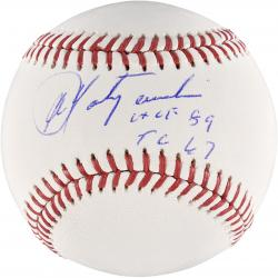 Carl Yastrzemski Boston Red Sox Autographed Baseball with TC 67 HOF 89 Inscription - Mounted Memories