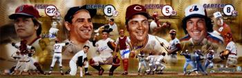 Johnny Bench, Gary Carter, Carlton Fisk, & Yogi Berra Hall of Fame Catchers Autographed Panoramic - Mounted Memories