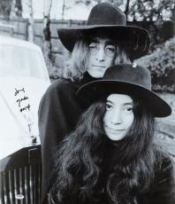 "Yoko Ono Autographed 20""x 24"" Posing with John Lennon Stretched Canvas - BAS COA"