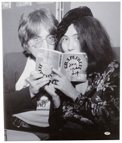 "Yoko Ono Autographed 20""x 24"" With John Lennon Book Stretched Canvas - BAS COA"