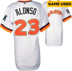 Yonder Alonso San Diego Padres Game Used 1984 Throwback Jersey from 5/22/14 vs Chicago Cubs