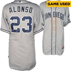 Yonder Alonso San Diego Padres Game Used Gray Jersey from 6/12/14 vs Philadelphia Phillies