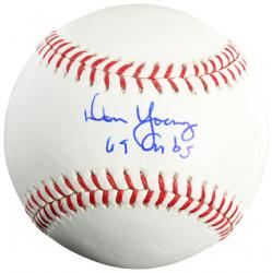 Don Young Autographed Baseball with 69 Cubs Inscription
