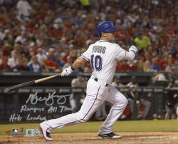 "Michael Young Texas Rangers Autographed 8"" x 10"" Bat Down Photograph with Rangers All-Time Hits Leader Inscription"