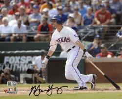 Michael Young Texas Rangers Autographed 8'' x 10'' Cameraman Photograph - Mounted Memories