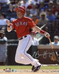 Michael Young Texas Rangers Autographed 8'' x 10'' Watching Hitting Photograph - Mounted Memories