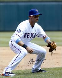 Michael Young Texas Rangers Autographed 16'' x 20'' Fielding Position Photograph - Mounted Memories