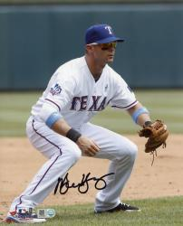 Michael Young Texas Rangers Autographed 8'' x 10'' Fielding Position Photograph - Mounted Memories