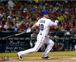 Michael Young Texas Rangers Autographed 16'' x 20'' Bat Down Photograph with Rangers All-Time Hits Leader Inscription - Mounted Memories