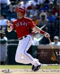 Michael Young Texas Rangers Autographed 16'' x 20'' Watching Hitting Photograph - Mounted Memories