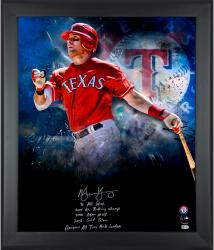 """Michael Young Texas Rangers Framed Autographed 20"""" x 24"""" In Focus Photograph with Multiple Inscriptions-#1 of a Limited Edition of 25"""