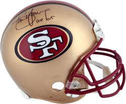 Steve Young San Francisco 49ers Autographed Riddell Pro-Line Authentic Helmet with HOF 05 Inscription - Mounted Memories