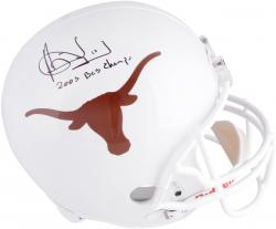 Vince Young Texas Longhorns Autographed Riddell Replica Helmet with 2005 Champs Inscription - Mounted Memories