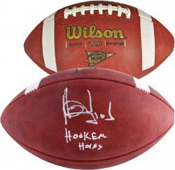 Vince Young Texas Longhorns Autographed NCAA Football with Hook Em Horns Inscription - Mounted Memories