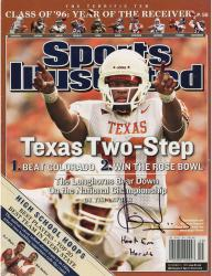 Vince Young Texas Longhorns Autographed Texas Two Step Sport Illustrated Magazine with Hook Em Horns Inscription