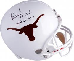 Vince Young Texas Longhorns Autographed Riddell Replica Helmet with Hook Em Horns Inscription - Mounted Memories