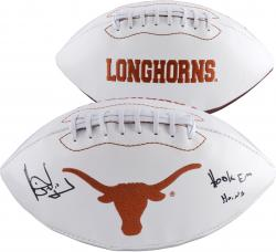 Vince Young Texas Longhorns Autographed White Panel Football with Hook Em Horns Inscription - Mounted Memories