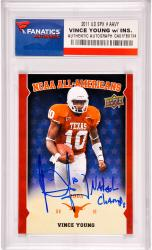 Vince Young Texas Longhorns Autographed 2011 Upper Deck #AAVY Card with National Champs Inscription - Mounted Memories