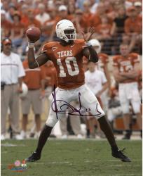 """Vince Young Texas Longhorns Autographed 8"""" x 10"""" Throwing Photograph"""