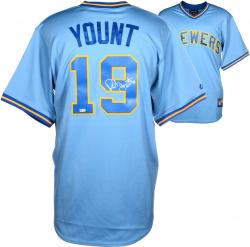 Robin Yount Autographed Milwaukee Brewers Throwback Jersey - HOF 99