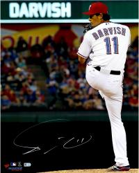 "Yu Darvish Texas Rangers Autographed 16"" x 20"" Pitching in White with Leg Tucked Back Photograph"