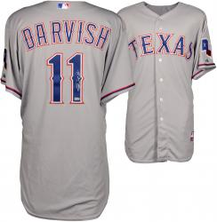Yu Darvish Texas Rangers Autographed 4/6/14 500th Strikeout Game Used Grey Jersey