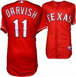 Yu Darvish Texas Rangers Autographed Majestic Red Authentic Jersey Signed in Blue