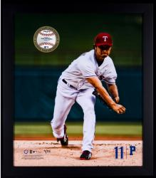 Yu Darvish Texas Rangers Framed 20'' x 24'' Gamebreaker Photograph with Game-Used Pitched Ball - Mounted Memories