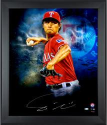 """Yu Darvish Texas Rangers Framed Autographed 20"""" x 24"""" In Focus Photograph"""