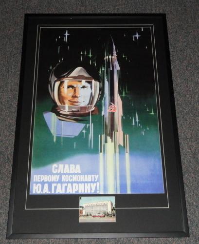 Yuri Gagarin Signed Framed 27x41 Poster Display JSA