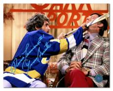 Yvon Barrette as Denis Lemieux Autographed Slap Shot TV Interview 8x10 Photo