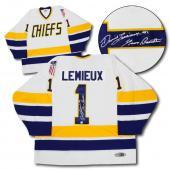 Yvon Barrette as Denis Lemieux Signed Charleston Chiefs Slap Shot Hockey Jersey
