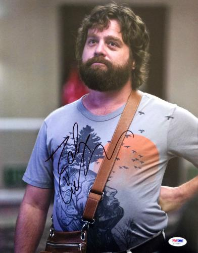 """Zach Galifianakis Signed Hangover """" Let The Dogs Out """" 11x14 Photo PSA/DNA"""