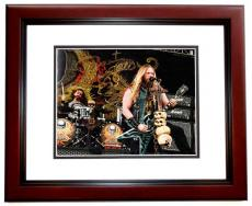 Zakk Wylde Signed - Autographed Black Label Society 8x10 Photo with Guitar Drawing and Inscription MAHOGANY CUSTOM FRAME