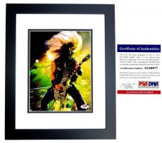 Zakk Wylde Signed - Autographed Black Label Society 8x10 inch Photo with PSA/DNA Certificate of Authenticity (COA) and Guitar Drawing and Inscription BLACK CUSTOM FRAME