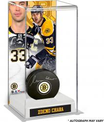 Zdeno Chara Boston Bruins Autographed Puck with Deluxe Tall Hockey Puck Case