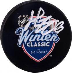 Henrik Zetterberg Detroit Red Wings Winter Classic Autographed Hockey Logo Puck - Mounted Memories