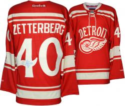 Henrik Zetterberg Detroit Red Wings Autographed Reebok Winter Classic Jersey - Mounted Memories
