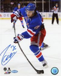 "Mats Zuccarello New York Rangers Autographed 8"" x 10"" Shooting Blue Uniform Photograph"
