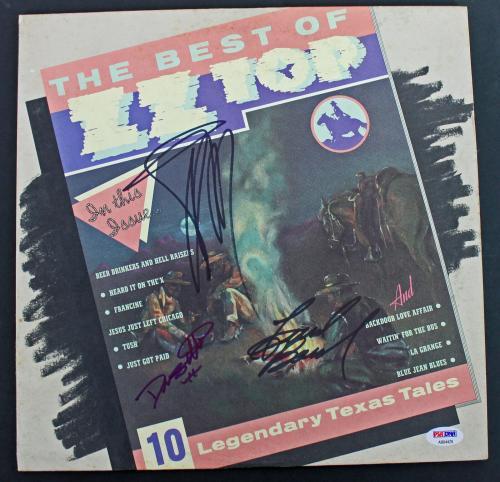 ZZ Top (Billy Gibbons, Dusty Hill & Frank Beard) Signed Album Cover PSA #AB04429
